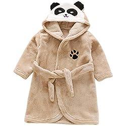 Enfant Peignoir De Bain Robe De Chambre Peignoir Fille Garçon Vêtement De Nuit À Capuche Manches Longues XM Marron 100