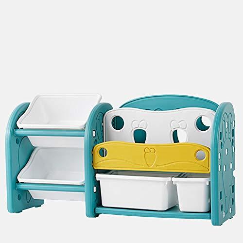 GAOQQI-Bücherregal für Kinder Bodenständig Tiered Storage 2-Tier-Spielzeugregal + 2-Tier-Bücherregal Abnehmbare Aufbewahrungsboxen Einfach Zusammenbauen, 2 Farben, 7 Arten -