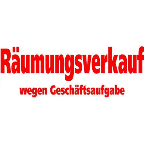 Räumungsverkauf wegen Geschäftsaufgabe – Selbstklebende Folienbeschriftung - Aufkleber Schaufensterbeschriftung rot