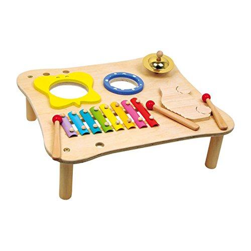 Musiktisch / Musikinstrument aus Holz mit Xylophon, Ratsche, Schelle und Trommel, für Kinder ab 3 Jahren, inkl. Holzschlegel