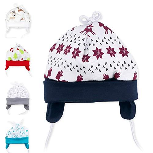 Baby Sweets Baby Mütze Unisex grau blau braun | Motiv: Little Reindeer | Babymütze zum Binden für Neugeborene & Kleinkinder | Größe 0-3 Monate (62)...