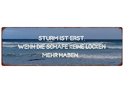 METALLSCHILD Blechschild STURM IST ERST WENN DIE SCHAFE Spruch Shabby Ostsee