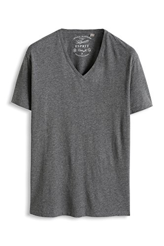 ESPRIT Herren T-Shirt Basic - Slim Fit, 995EE2K903, Grau (Medium Grey Melange 070)