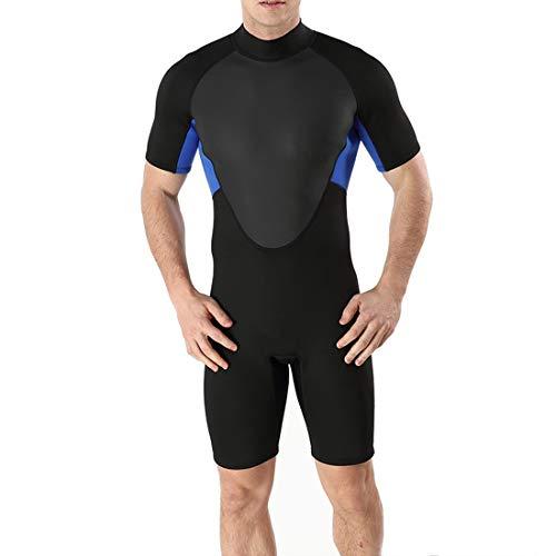 WAVENI Herren Bademode Tauchen Surfen Sonnenschutz schweißabsorbierend Schnell trocknend Rash Guard Cool Insulation Ausgezeichneter kurzärmliger Neoprenanzug (Color : 2, Size : S)