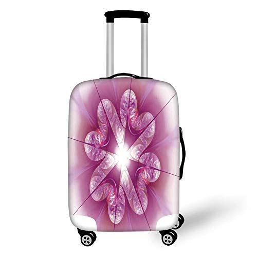 Travel Luggage Cover Suitcase Protector,Spires Decor,Computer Rendered Abstract Fractal Flower Motif Gathered an Axis Polar Graphic Work,Pink,for Travel,S Polar Shorts