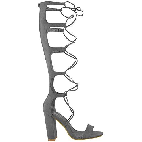Femmes Genou Lacet À Lanières Talon Bloc Taille De Chaussures Sandales Gladiateur Gris Faux Suédé
