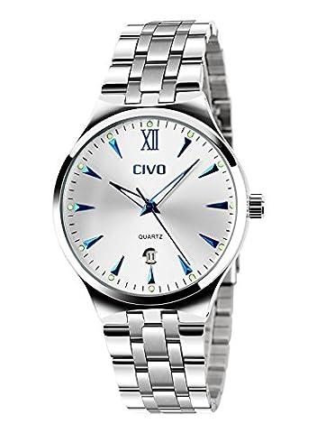 CIVO Herren Luxus Edelstahlband Business Casual Uhr Männer Analog Quarz Armbanduhr Römische Ziffer Zeitlos Einfach Classic Design Kalender Wasserdichte Uhren Blau mit Uhrenarmband Entferner Werkzeug