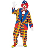 KarnevalsTeufel Herren-/Damenkostüm Clown Pebbi Mantel, bunt blau gelb rot kariert, Karneval, Fasching, Mottoparty (XX-Large)