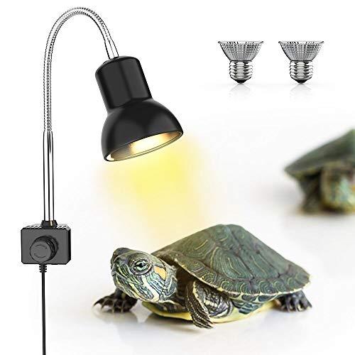 DADYPET Schildkröte Wärmelampe, Wärmespotlampe für Aquarium Reptil, Basking Spot mit Halter UVA UVB mit 360° drehbarem Clip & Netzteil für Reptilien, Eidechsen, Schildkrötenschlangen Aquarium 25W -