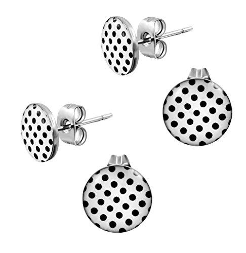 Ohrstecker Polka Dot Weiß Schwarze Punkte - Rockabilly Ohrringe für Damen Ø 10mm Edelstahl