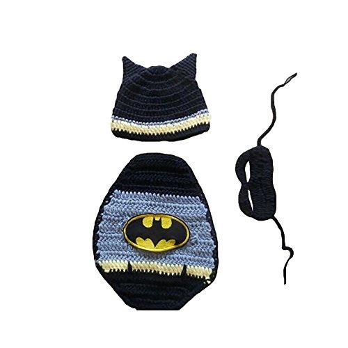 Amurleopard Neugeborenen Baby Kostüm Batman Einheitsgröße(0-4 Monate) (Schwarze Batman Kostüm)
