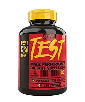 MUTANT Test Natural Testosterone Booster with a Powerful Formula Developed to Support Testosterone Levels, Fast Pro-Caliber Formula, 180 Capsules from Mutant
