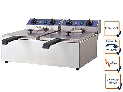 Double friteuse professionnelle, en acier inoxydable, 6000 w, 20 l, thermostat de sécurité, wF gGG - 102