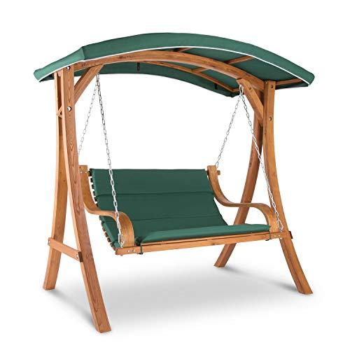 blumfeldt Tahiti • Gartenschaukel • Hollywoodschaukel • 110 cm Sitzfläche • bis max. 250 kg • mitschwingendes Sonnendach • Edelstahl-Ketten mit Karabinerhaken • witterungsbeständig • grün