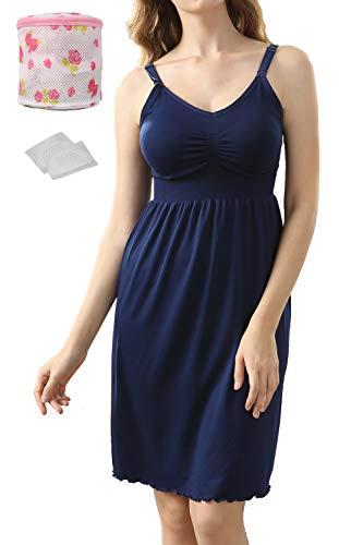 iLoveSIA Nahtloses Still Nachthemd mit Einfacher Stillfunktion Figur-Formendes-Shaping BH-Kleid blau,3XL -