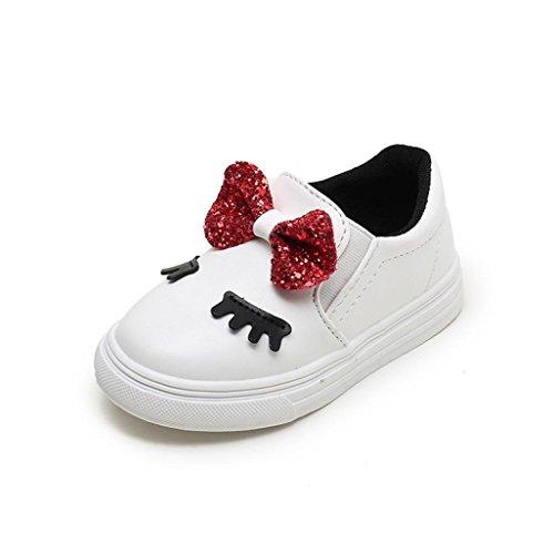 Niños Zapatos Casual Zapatilla de Deporte tímida de los Ojos del Bowknot de los bebés by LMMVP (21(12-18M), Blanco)