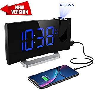 Mpow Projection Alarm Clock [Upgraded Version], Digital Radio Alarm Clock with LED Dimmer, 5 Display Brightness, 4 Adjustable Sounds, 9-Minute Snooze Function, for Bedroom, Office