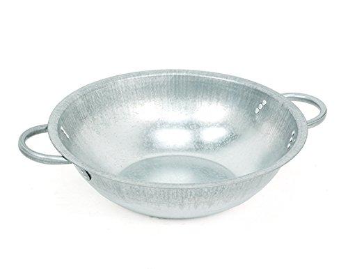 DK Bol en zinc pour planter ou comme mini bassin métal naturel avec poignées, 16 x 47 cm