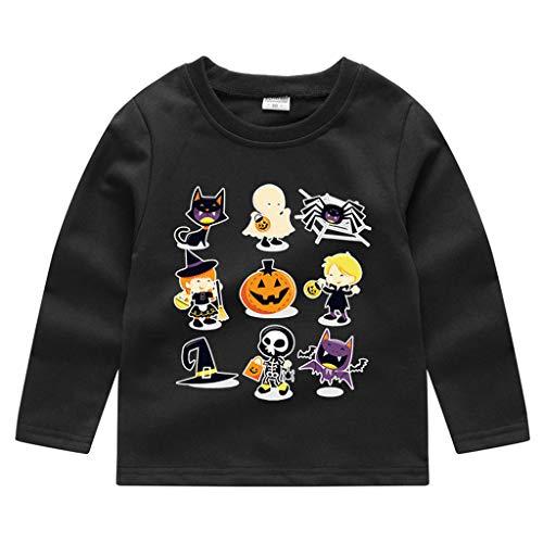 Party Teufel Kostüm Stadt - Romantic Kinder Baby Jungen Halloween Kostüme Lange Ärmel Bat/Kürbis/Brief Gedruckt T-Shirt Schickes Kürbis Kostüm Top Sweatshirts für Karneval Party Halloween Fest (Schwarz 4, 120)