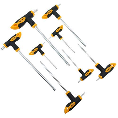 Cablematic - Juego de 8 destornilladores con mango en T llaves T10 T15 T20 T25 T30 T40 T45 T50 de Tolsen
