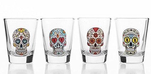 4x Schnapsgläser Totenkopf CALAVERAS shooter gläser shot gläser Schädel Skull Head Shot Totenkopf Vodka Schnaps Glas Stamper