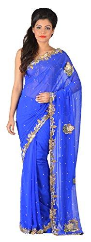 Gratitude Women's Viscose Saree (Blue)