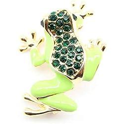Yarmy Broches para Ropa Mujer Aleación joyería Verde Gota Aceite Esmalte Rana Broche Animal Broche del Perno otoño e Invierno
