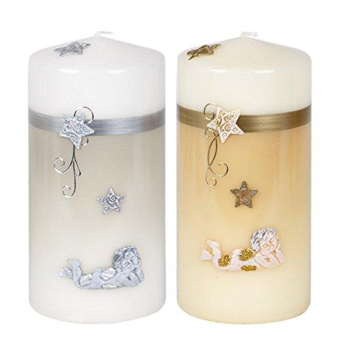 Grandes velas (Juego de 2gris Color Crudo velas Ángel Diseño de Adviento