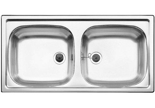 Blanco Top EZ 8 x 4 Edelstahl Naturfinish Set Doppelbecken Küchenspüle Auflage