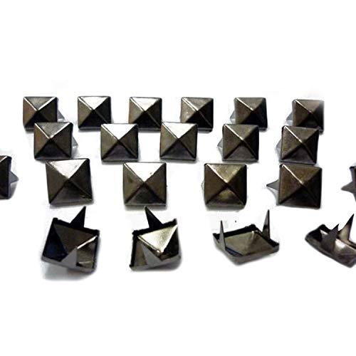 Schwarz Leder Tasche Kleidungsstück (Trimming Shop Quadratisch Ohrstecker Nieten in Gun Metal/schwarz für Leder Kleidung Taschen Jeans Craft-Spike Punk Pyramid Nieten für Verzierung, Gun Metal/Black, 12 mm)