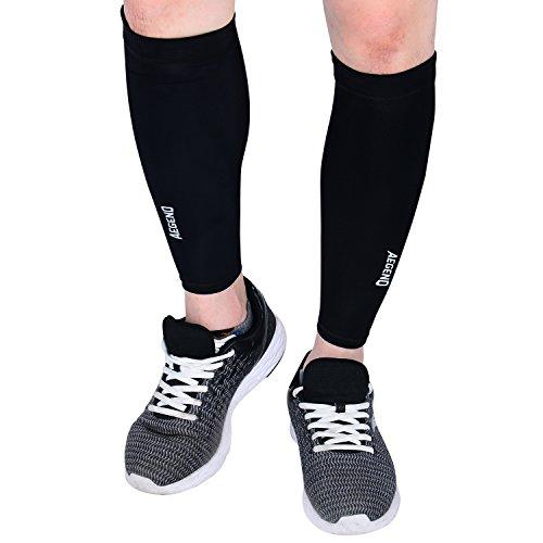 Calf Sleeves, aegend Bein Kompression Socken Anti-Rutsch Kompressions-Wadenbandage Ärmel Beinwärmer für tibiakantensyndrom & Wade Schmerzlinderung, Durchblutung und Wiederherstellung, Running, Crossfit, 3Größen, 1Paar (Socken Kompression Leistung)