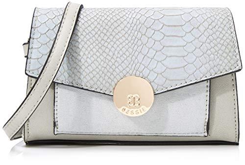 Bessie London Damen Gold Circle Clip Croc Flap Top Bum Bag Umhängetasche, Grau (Light Grey), 4x13x18 Centimeters