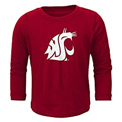 NCAA Washington State Cougars Primary Logo RP Long Sleeve Tee, 4 Tall, Victory Red