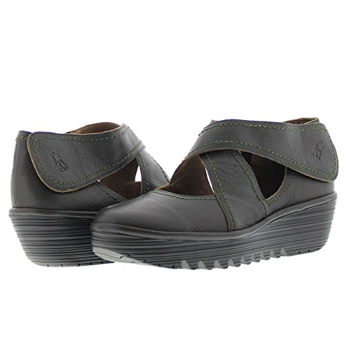 Fly London Womens Rafe657Fly Wedge Grained Soft Leather Shoes Nicotine