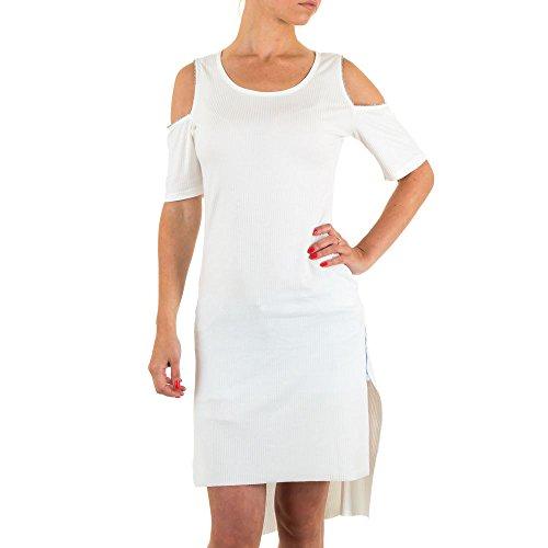 Schuhcity24 Tunika Damen chiton Kleid Schulterfreie Stretch Weiß One Size (Falten Ärmel Einheitliche Kurze)