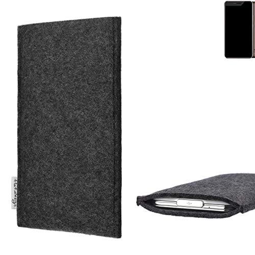 flat.design Handy Hülle Porto für Allview X4 Xtreme handgefertigte Handytasche Filz Tasche Schutz Case fair dunkelgrau