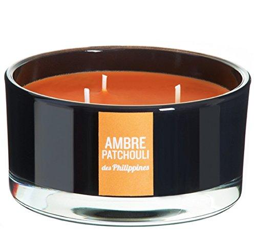 DEVINEAU 1611524 Bougie Vasque avec 3 Mèches Ambre Patchouli des Philippines Orange/Noir Laqué