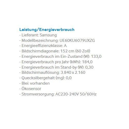 Samsung UE60KU6079 152 cm (60 Zoll) 4k Fernseher - 3