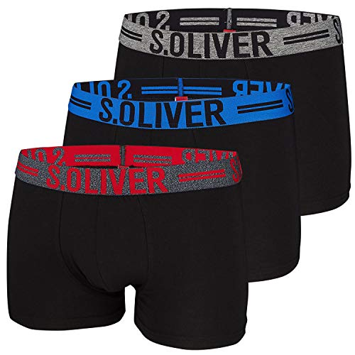 s.Oliver Herren Boxershorts 26.899.97.4229 Schwarz (3xblack 12c3) Medium (Herstellergröße: 5)