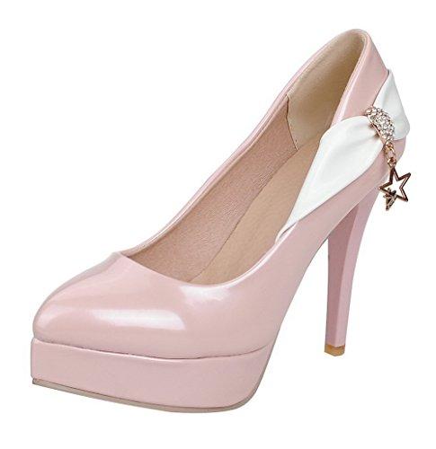 AllhqFashion Damen Lackleder Ziehen Auf Spitz Zehe Stiletto Pumps Schuhe Pink