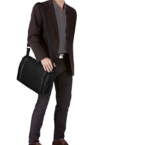 STILORD 'Noah' Vintage Umhängetasche Leder 13,3 Zoll Laptoptasche Studium Uni Büro Arbeit Unisex für MacBook echtes Rindsleder, Farbe:mittel - braun schwarz