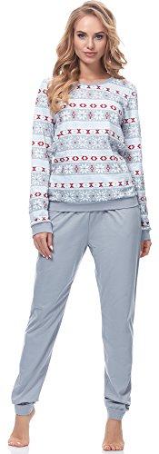 Lange Muster Warme Baumwolle (Ladeheid Damen Schlafanzug LA40-103 (Muster-6 Grau, XL))