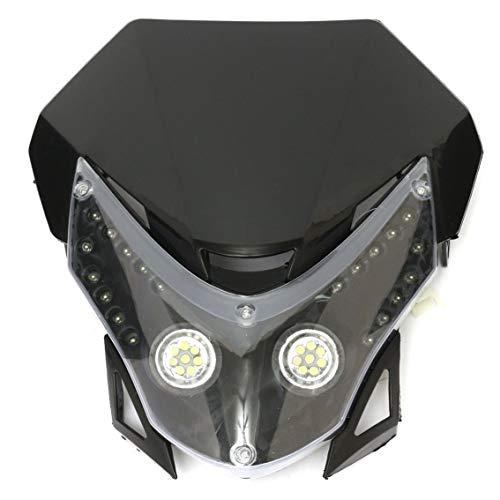 Mazur 12 V Universal Motocross Scheinwerfer Motorrad LED Kopf Licht Motorrad Bike Motocross Universal Scheinwerferlampe (Schwarz)