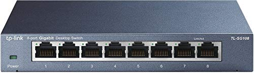 TP-Link TL-SG108, V2 8-Port Gigabit Netzwerk Switch (bis 2000 MBit/s, geschirmte RJ-45 Ports, Metallgehäuse, optimiert Datenverkehr, IGMP-Snooping, unmanaged, lüfterlos) blau metallic (Gigabit-switch Tp-link)