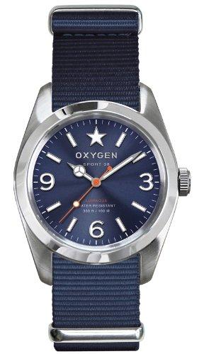 Oxygen - EX-S-BOS-38-NA - Sport - Montre Homme - Quartz Analogique - Cadran Bleu - Bracelet Nylon Bleu
