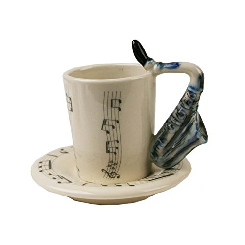 Saxophon Espresso-Tasse handgefertigt Keramik Blau 56g (8cm x 5cm)