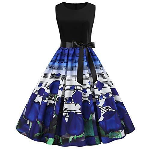 SCHOLIEBEN Kleid Damen Sommer Kleider Sommerkleid Sexy 60Er Jahre Vintage Elegant Festlich Petticoat Rockabilly Knielang Schöne Retro A-Linien Abendkleid Partykleid - Schöne Linie