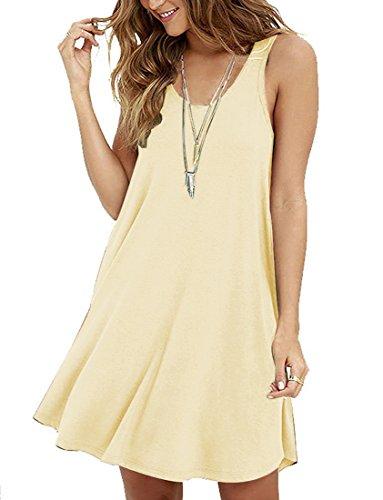 S/s T-shirt Kleid (LILBETTER Womens Basic Rundhals Causal Tunic Top Mini T-Shirt Kleid Beige S(EU 34-36))
