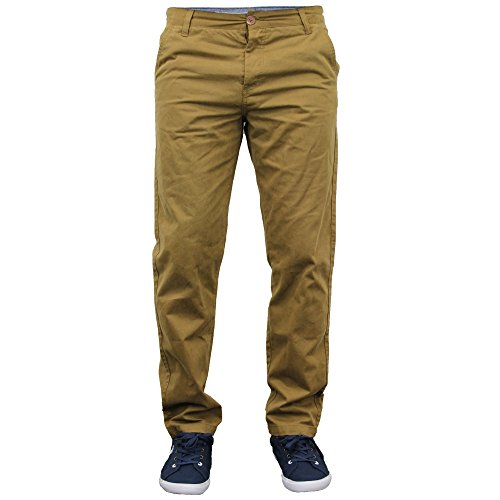 Herren Chino Jeans Stallion Hose Enge Passform Freizeit Designer Neu Tabak - 0017