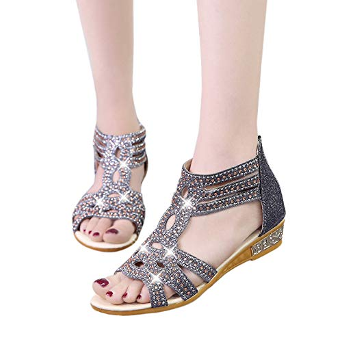 Hanomes bocca di pesce casual infradito donna con strass per bassi eleganti estivi sandali zeppa cristallo sandali peep toe scarpe sandalo piatto scarpe sandali donna tacco eleganti sexy